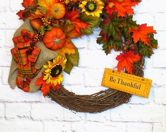 Fall Wreath, Thanksgiving Wreath, Fall Decor, Autumn Wreath,  Harvest Wreath, Be Thankful