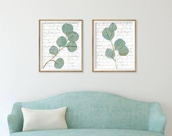 Botanical Watercolor Art Prints set of 2,  Neutral Dining Room Wall Art Set of 2 , Kitchen Art, Living Room Green Artwork Large Wall Art Set