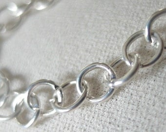 Silver Plated Rolo  Chain, round links, 5mm diameter, 6 feet of chain