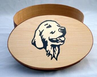 Shaker oval box with labrador dog inlay