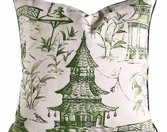 Pagoda Pillow Cover in Green and White Linen Blend