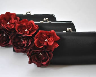 BLACK_BORDEAUX_BRIGHT RED - Wedding clutch - Custom clutch - Bridal_Bridesmaids_Prom_Mother of the Bride / CUSTOM clutch