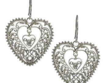 Heart Earrings Textured Sterling Silver Balinese Bali Jewelry