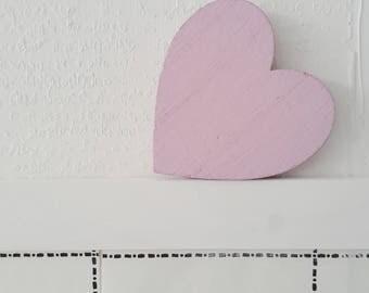 Pink Heart magnet, Love magnet, wooden magnet
