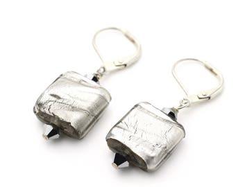 Silver Venetian Glass Square Earrings on Sterling Silver 925 12mm