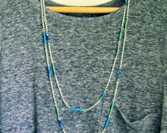 multistrand necklace, long beaded necklace, beaded chain, blue green, boho, bohemian, silver chain,