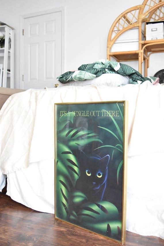 large framed vintage black cat jungle lithograph art poster paper print