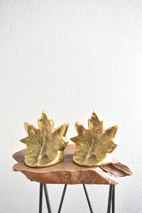 pair of heavy mid century solid brass maple leaf bookends / fall home decor