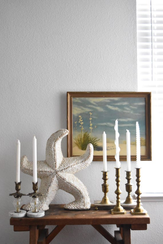extra large vintage real seashell starfish sculpture figurine / beach house decor