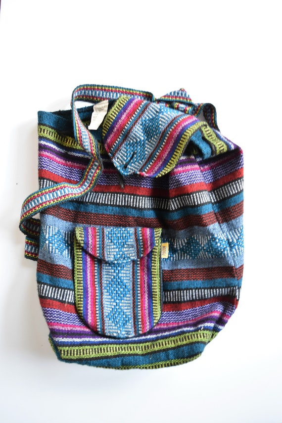 vintage striped hippie boho backpack bag / lightweight / mexican / pinzon / colorful