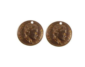 Vintage Patina,  Napoleonic Coin Charm, Qty:2