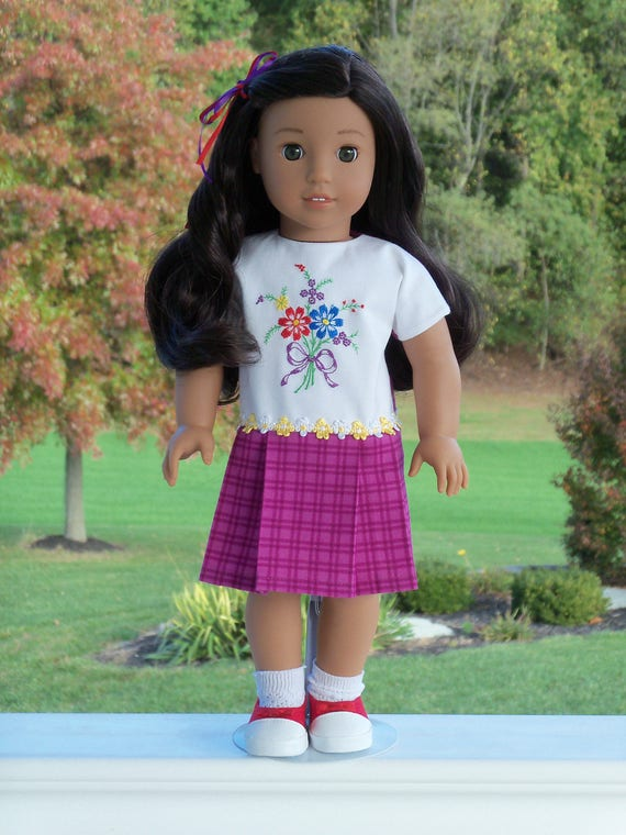 """18"""" Size/  Nanea's Pleated School Dress / Fits  American Girl or Other 18"""" Dolls"""