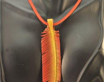 Leather Feather Flame Shrike Pendant