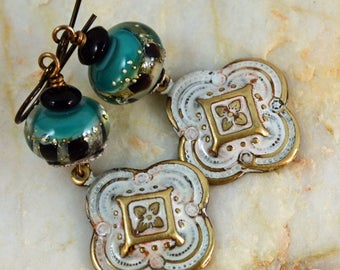 Marble Patinated Vintaj Bangalore Charms Handcrafted Lampwork Beads Earrings