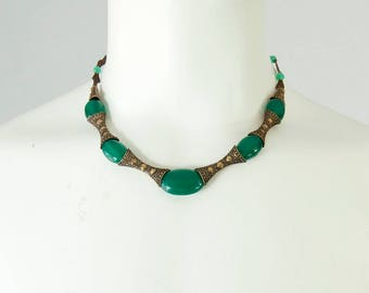 1930s Vintage Brass and Glass Necklace with Art Deco Etchings