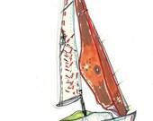 sailboat sailing nautical illustration/watercolour art print