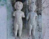 """2 Large Frozen Charlottes Dolls Antique Porcelain 4"""""""