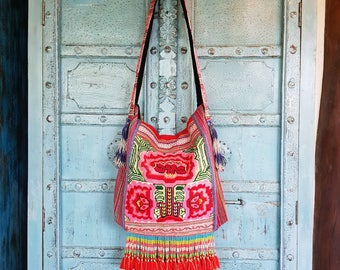 Hmong Tribal crossbody bag Hand embroidery flowers tassels Cute Frilly Strap Ethnic Fashion