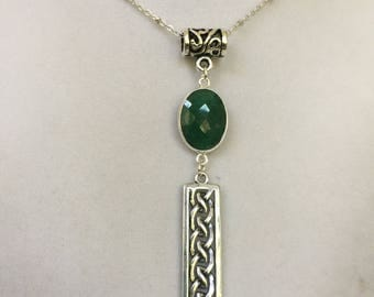 Silver Celtic Knot Pendant with Green Onyx Gemstone Necklace