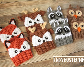 Woodland Animals Boot Cuffs / Boot Cuff Pattern / Crochet Boot Cuffs / Boot Cuff Socks - Crochet Pattern BUNDLE