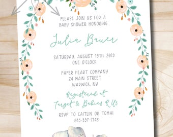 Watercolor Floral Wreath Elephant Baby Shower Invitation - Elephant Baby Shower Invitation - Boho Baby Shower -  PDF or Printed Invitation