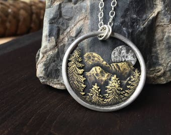 Full Moon Forest Mountain Pendant Ritual Remains Brass Sterling Silver Nature Lover Moon Necklace Mountain Ring Mountain Jewelry Gift Ideas