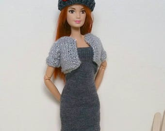 3-piece Barbie Outfit. Charcoal and silver outfit: sleeveless dress, knitted sweater, matching hat. Model muse. Fashion Royalty OOAK
