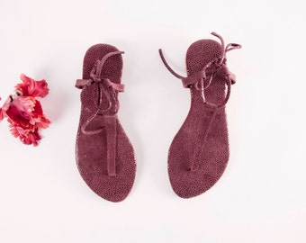 Minimal Deep Red Textured tie up Sandals | Up-cycled soft leather sandals | Maroon Textured | Ready to Ship