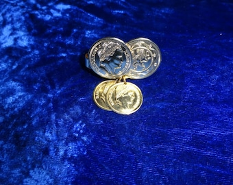 1971 Sarah Coventry Roman Coin Scarf Clip, Vintage Scarf Clip, Scarf Jewelry
