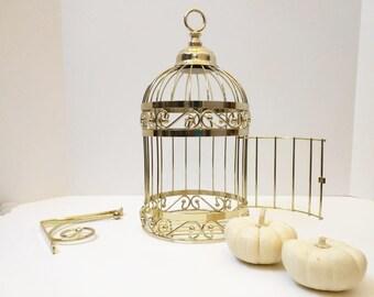 Vintage Gold Tone Decorative Bird Cage Hanging Bracket 80s