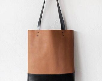 Xmas SALE Tan & Black Leather Tote bag No.TO-102