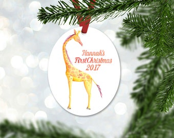 Personalized First Christmas Ornament, Baby Girl Keepsake Ornament, Baby's 1st Christmas, Watercolor Giraffe, Christmas Gift (050)