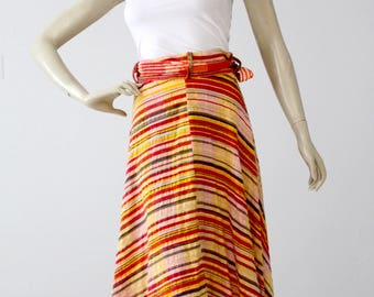 1970s gauze cotton wrap skirt, striped wrap around skirt
