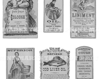 Antique Apothecary Labels Digital Download Vintage Pharmacy BNW #1 Druggist Drugstore General Store Potion Oil Spice Bottles Jars Old