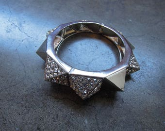 Silver Pyramid Studded Rhinstone Chunky Bangle Bracelet Costume Jewelry Spring Open Shut