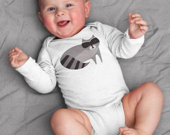 Baby boy clothes, raccoon baby onesie for baby boy, raccoon baby bodysuit, baby shower gift
