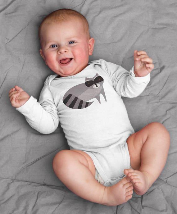 Baby boy clothes, raccoon baby onesie for baby boy, raccoon baby bodysuit