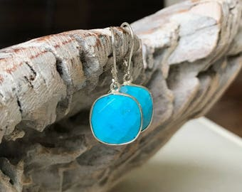 Silver Cusion Cut Turquoise Earrings