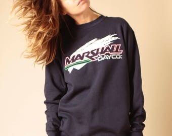 vintage NAVY blue MARSHALL dayco skidoo style neon slouchy deadstock sweatshirt top snowboard ski top