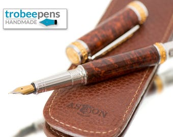 Wood Fountain Pen -  Select Ambrosa Wood Burl Fine Writing Instrument  Aston Leather Pen Sleeve Top of the Line