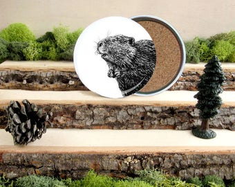 Beaver Coaster Set - Canadian Home Decor - Gift for Animal Lover or Outdoorsman Guy Gift - Cork-Bottom Coaster Set