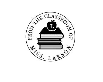 Personalized Custom Rubber Stamp or Self Inking Teacher Gift Bookplate From The Classroom of Textbooks Bookplate Library Property of Books