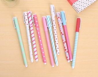 Set of 10 Color Gel Pens,10 Ink color,0.5mm,Planner Accessories,Cute Kawaii Pens,Scrapbooking,Gel Pens,Planner Goodies,School Stationery