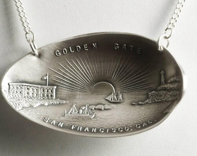 San Francisco Necklace, Golden Gate Pendant, Sterling Silver Spoon Necklace, Bay Area Souvenir, 925 California Necklace, Gift for Her (6822)