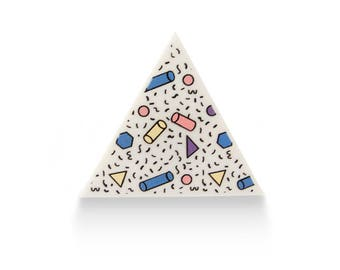 Colorful Big Triangle Acrylic 80's Pattern White Ring -  Adjustable 90's Memphis Style Geometric Pink Blue Yellow Retro Perspex Laser Cut