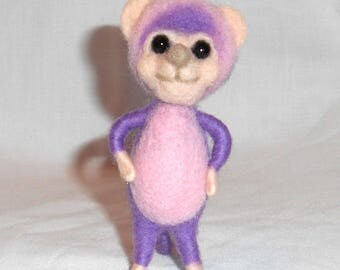 "Small Needle Felted Mouse Critter ""Princess Plumpink"" - Free Shipping to US and Canada"
