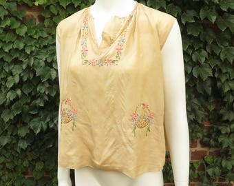 1920s Silk Embroidered Sleeveless Blouse, Size XS-S
