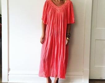 Vintage Cotton Gauze Grecian Sun Dress  , Angel Sleeve Dress