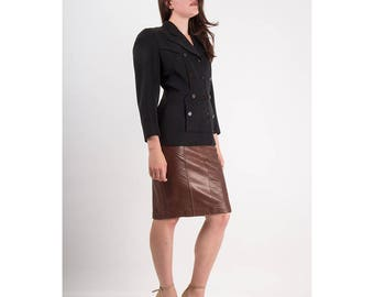Vintage black wool blazer / 1940s wide shoulder art deco seam fitted blazer / Film noir M