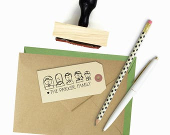 Custom Family Portrait Stamp - Family Avatar Illustration - Wood Mounted Rubber Stamp - Unique Housewarming Holiday Gift Non Cursive